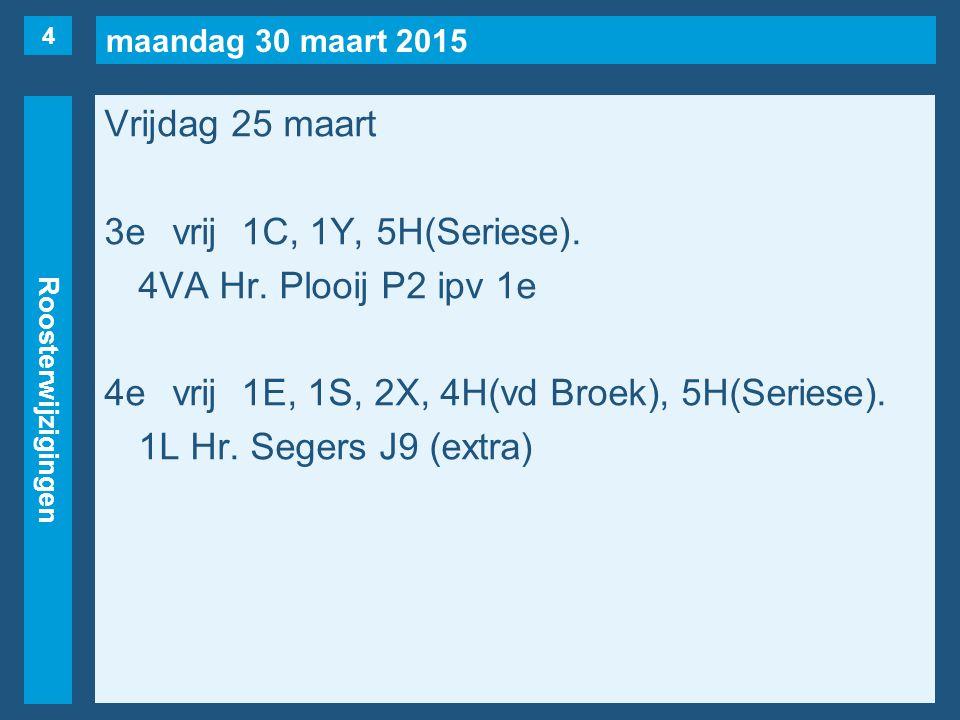 maandag 30 maart 2015 Roosterwijzigingen Vrijdag 25 maart 3evrij1C, 1Y, 5H(Seriese).