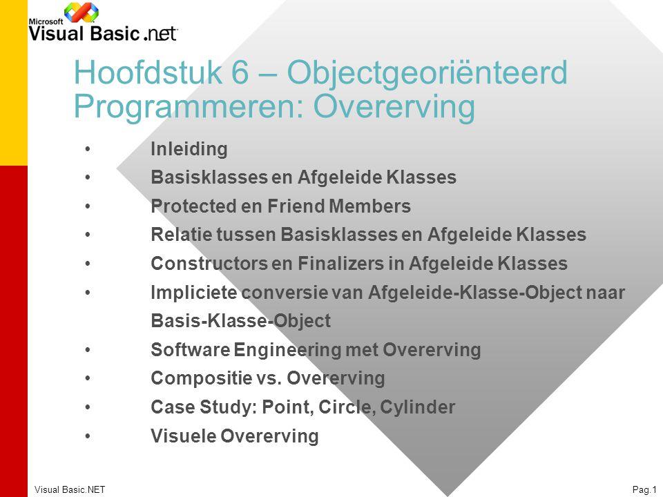 Visual Basic.NETPag.1 Hoofdstuk 6 – Objectgeoriënteerd Programmeren: Overerving Inleiding Basisklasses en Afgeleide Klasses Protected en Friend Member