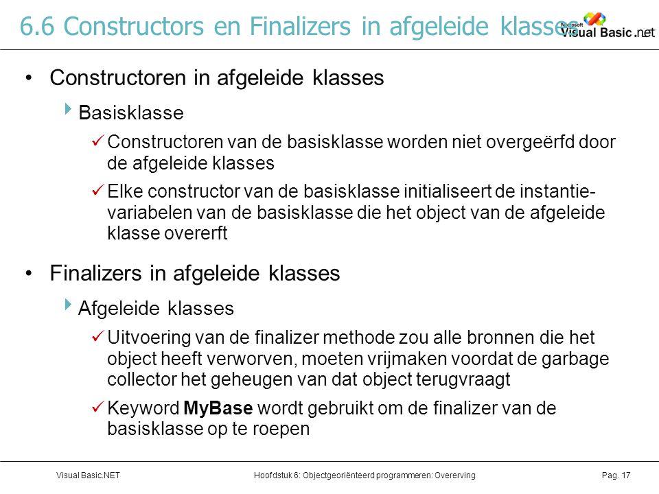 Hoofdstuk 6: Objectgeoriënteerd programmeren: OverervingVisual Basic.NETPag. 17 6.6 Constructors en Finalizers in afgeleide klasses Constructoren in a