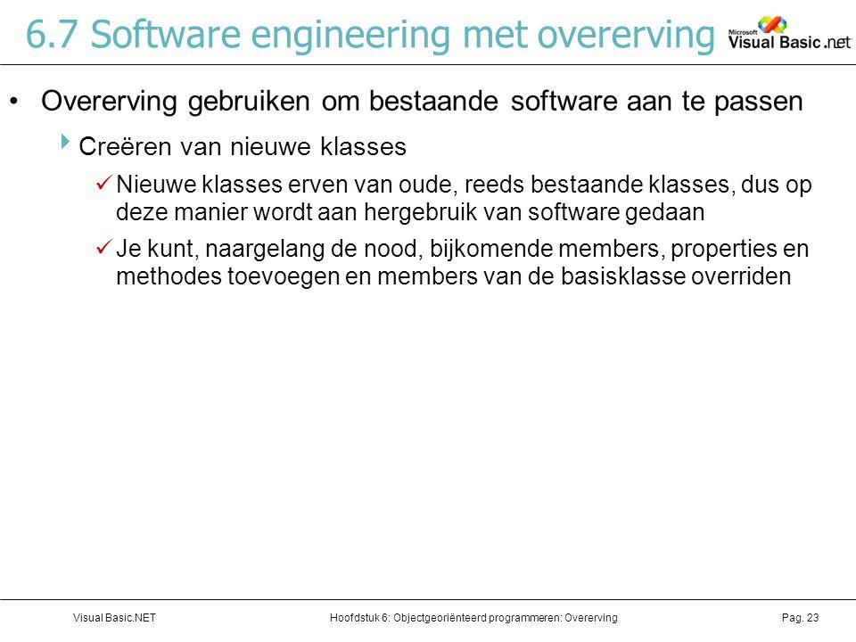 Hoofdstuk 6: Objectgeoriënteerd programmeren: OverervingVisual Basic.NETPag. 23 6.7 Software engineering met overerving Overerving gebruiken om bestaa