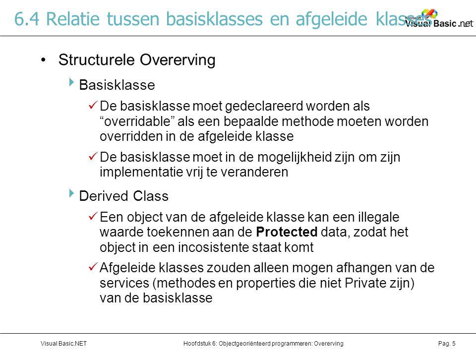 Hoofdstuk 6: Objectgeoriënteerd programmeren: OverervingVisual Basic.NETPag. 5 6.4 Relatie tussen basisklasses en afgeleide klasses Structurele Overer
