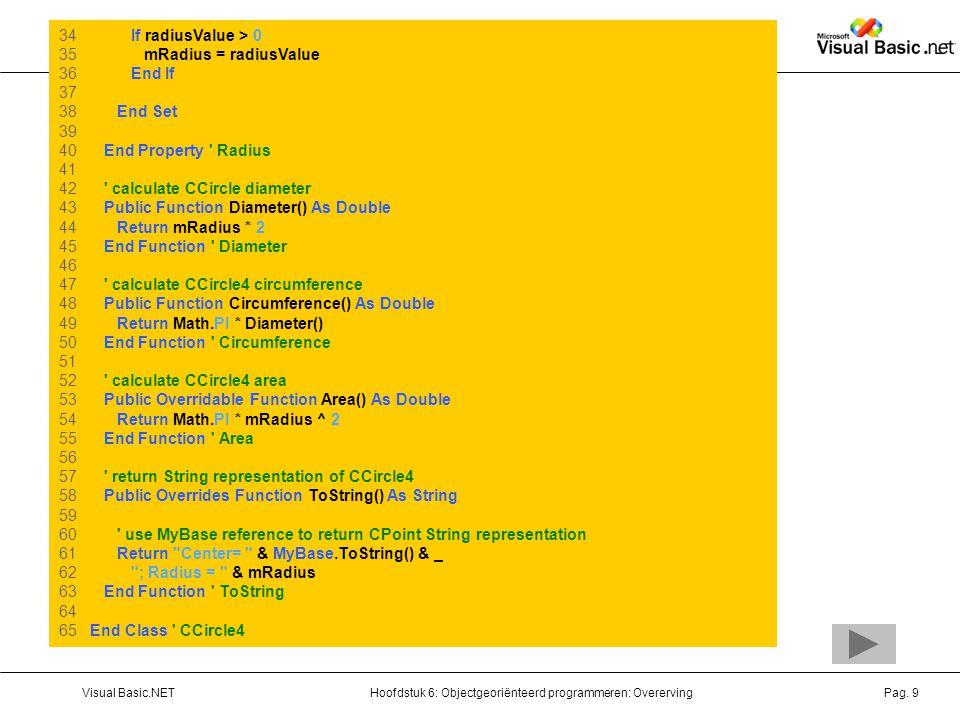 Hoofdstuk 6: Objectgeoriënteerd programmeren: OverervingVisual Basic.NETPag.