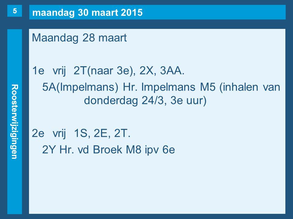 maandag 30 maart 2015 Roosterwijzigingen Maandag 28 maart 1evrij2T(naar 3e), 2X, 3AA.
