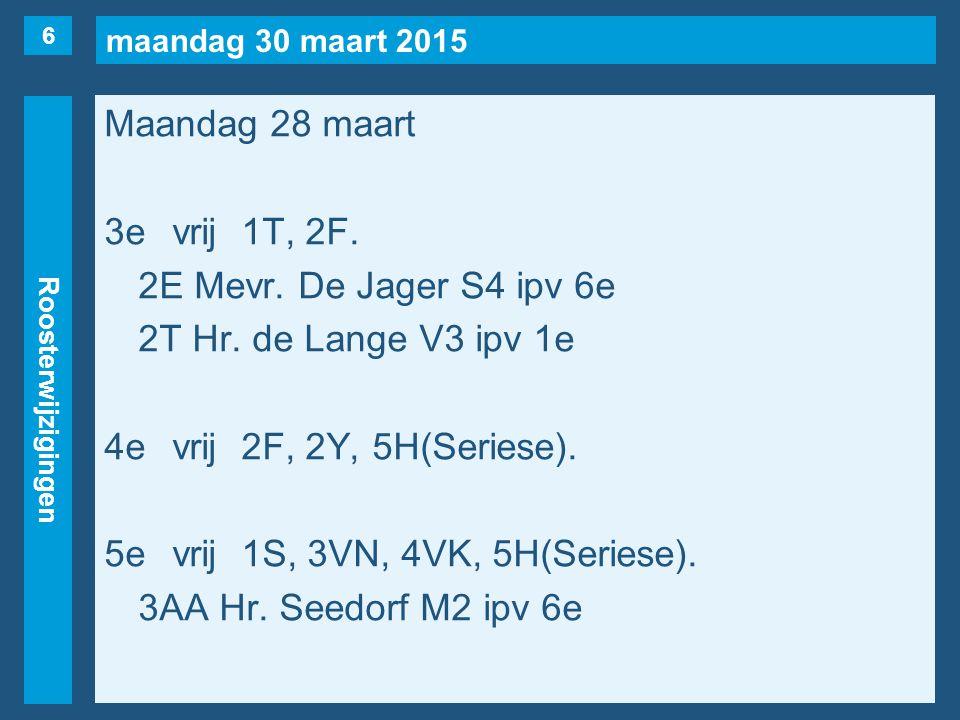 maandag 30 maart 2015 Roosterwijzigingen Maandag 28 maart 3evrij1T, 2F.