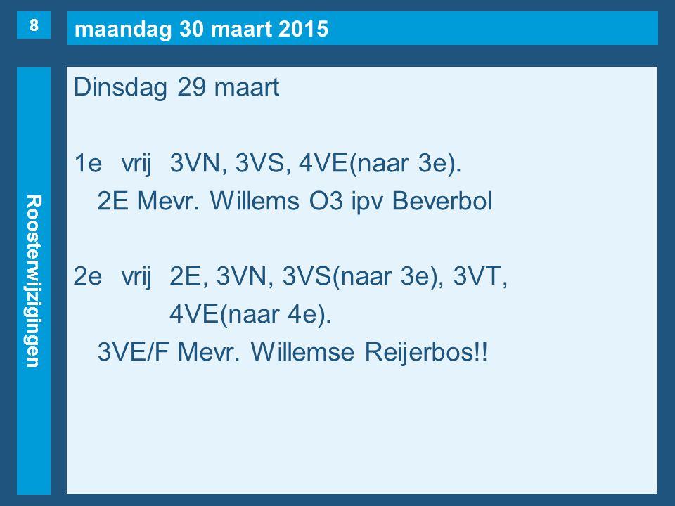 maandag 30 maart 2015 Roosterwijzigingen Dinsdag 29 maart 1evrij3VN, 3VS, 4VE(naar 3e). 2E Mevr. Willems O3 ipv Beverbol 2evrij2E, 3VN, 3VS(naar 3e),
