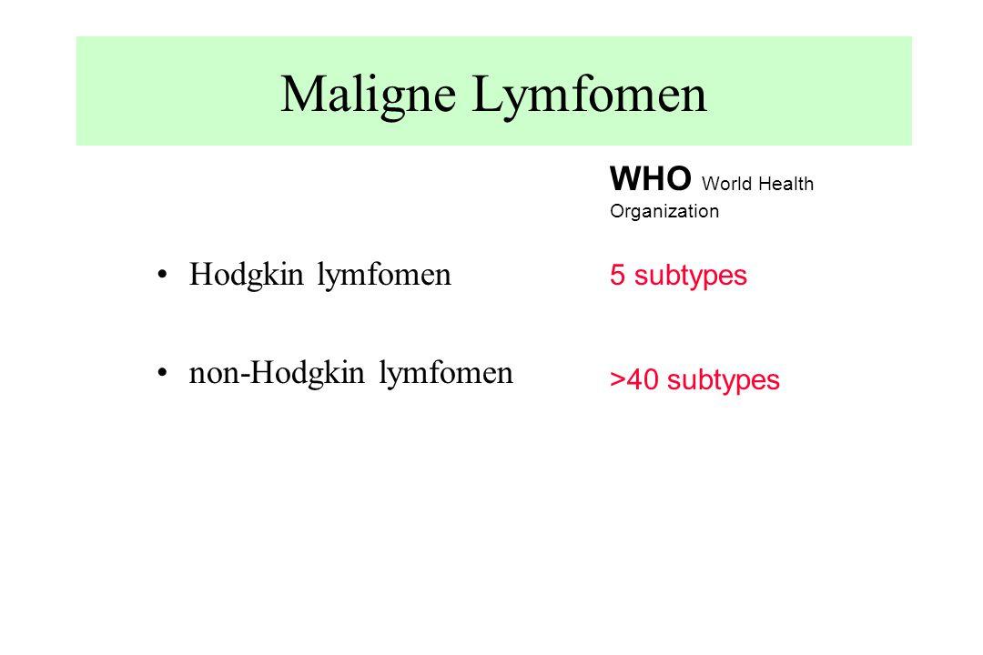 Maligne Lymfomen Hodgkin lymfomen non-Hodgkin lymfomen WHO World Health Organization 5 subtypes >40 subtypes
