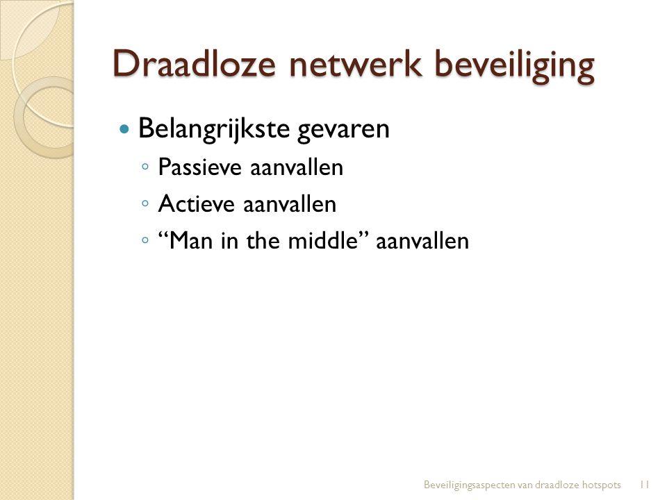 """Draadloze netwerk beveiliging Belangrijkste gevaren ◦ Passieve aanvallen ◦ Actieve aanvallen ◦ """"Man in the middle"""" aanvallen 11Beveiligingsaspecten va"""