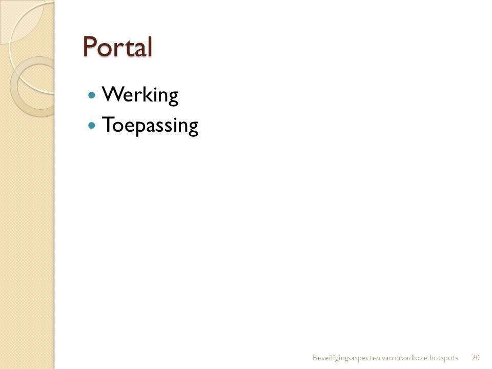 Portal Werking Toepassing 20Beveiligingsaspecten van draadloze hotspots