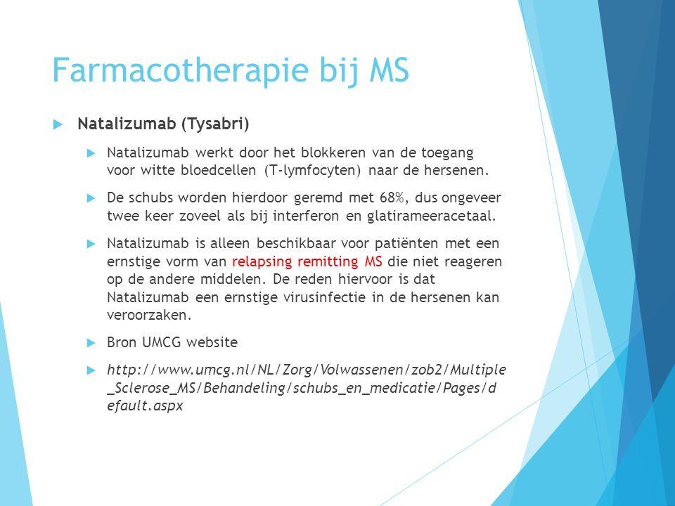Farmacotherapie bij MS  Natalizumab (Tysabri)  Natalizumab werkt door het blokkeren van de toegang voor witte bloedcellen (T-lymfocyten) naar de her