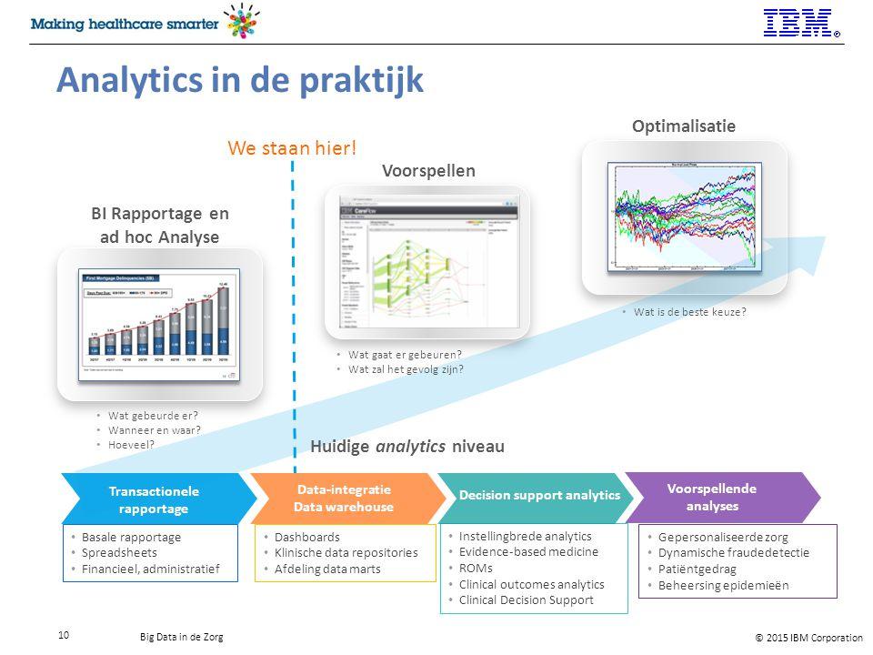 © 2015 IBM Corporation Big Data in de Zorg 10 Analytics in de praktijk BI Rapportage en ad hoc Analyse Wat gebeurde er.