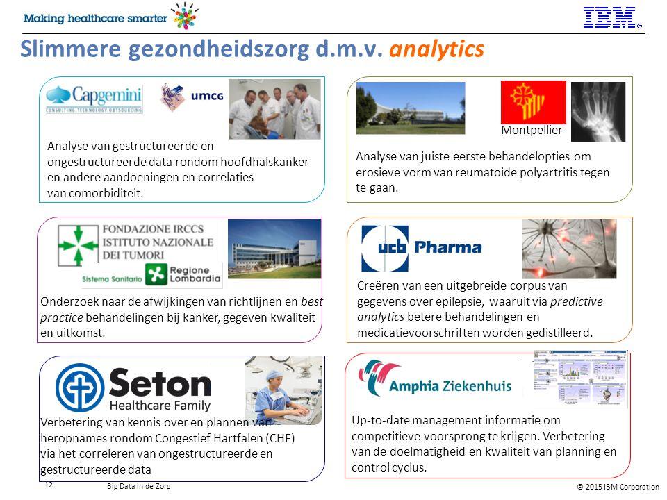 © 2015 IBM Corporation Big Data in de Zorg 12 Slimmere gezondheidszorg d.m.v.
