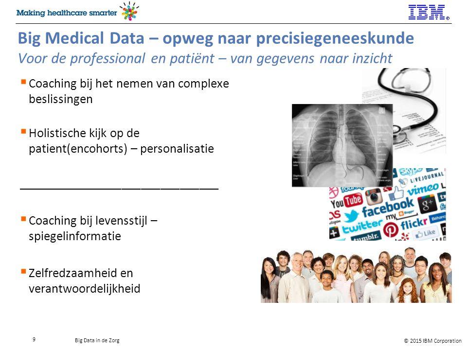 © 2015 IBM Corporation Big Data in de Zorg Big Medical Data – opweg naar precisiegeneeskunde Voor de professional en patiënt – van gegevens naar inzicht  Coaching bij het nemen van complexe beslissingen  Holistische kijk op de patient(encohorts) – personalisatie _______________________________  Coaching bij levensstijl – spiegelinformatie  Zelfredzaamheid en verantwoordelijkheid 9