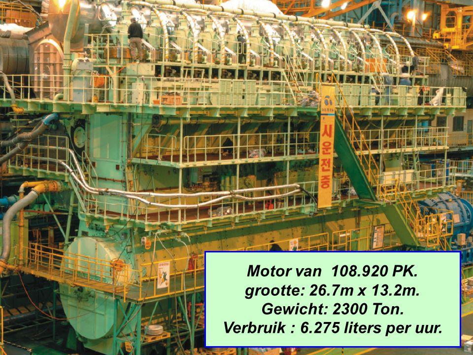 Motor van 108.920 PK. grootte: 26.7m x 13.2m. Gewicht: 2300 Ton. Verbruik : 6.275 liters per uur.