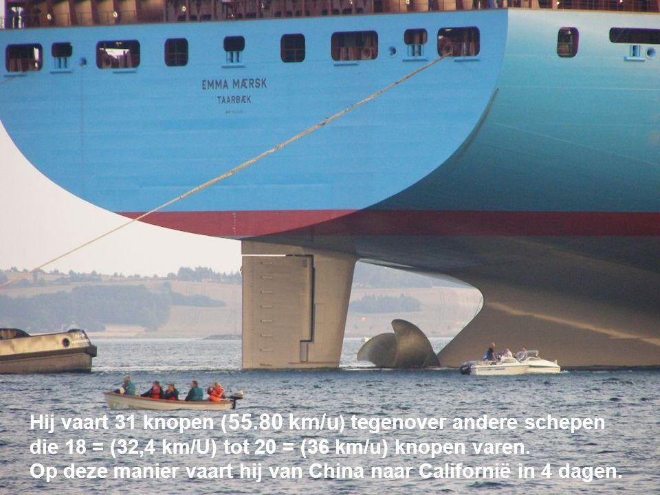 Hij vaart 31 knopen ( 55.80 km/u ) tegenover andere schepen die 18 = (32,4 km/U) tot 20 = (36 km/u) knopen varen. Op deze manier vaart hij van China n