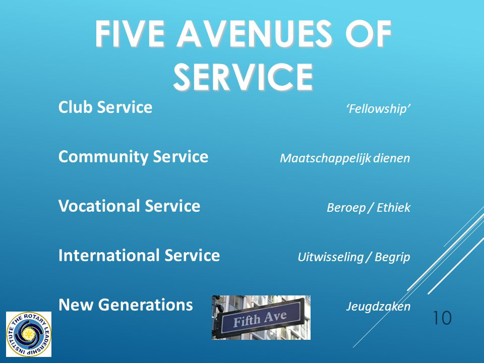 FIVE AVENUES OF SERVICE 10 Club Service 'Fellowship' Community Service Maatschappelijk dienen Vocational Service Beroep / Ethiek International Service Uitwisseling / Begrip New Generations Jeugdzaken