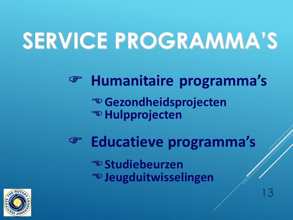 13 SERVICE PROGRAMMA'S SERVICE PROGRAMMA'S  Humanitaire programma's  Gezondheidsprojecten  Hulpprojecten  Educatieve programma's  Studiebeurzen  Jeugduitwisselingen