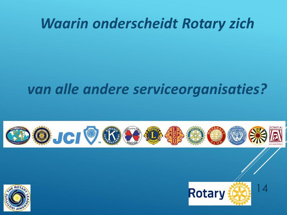 Waarin onderscheidt Rotary zich van alle andere serviceorganisaties 14