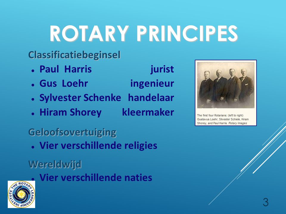 4 ROTARY INTERNATIONAL ● 23-02-1905: RC Chicago [ Paul Harris ] ● in 1921:Rotary wereldwijd: Clubs in 5 continenten ● in 1925:108.000 Rotarians in 2.000 clubs ● in 1989:Vrouwen in Rotary ● heden:> 32.000 clubs in 200 landen > 1.200.000 Rotarians
