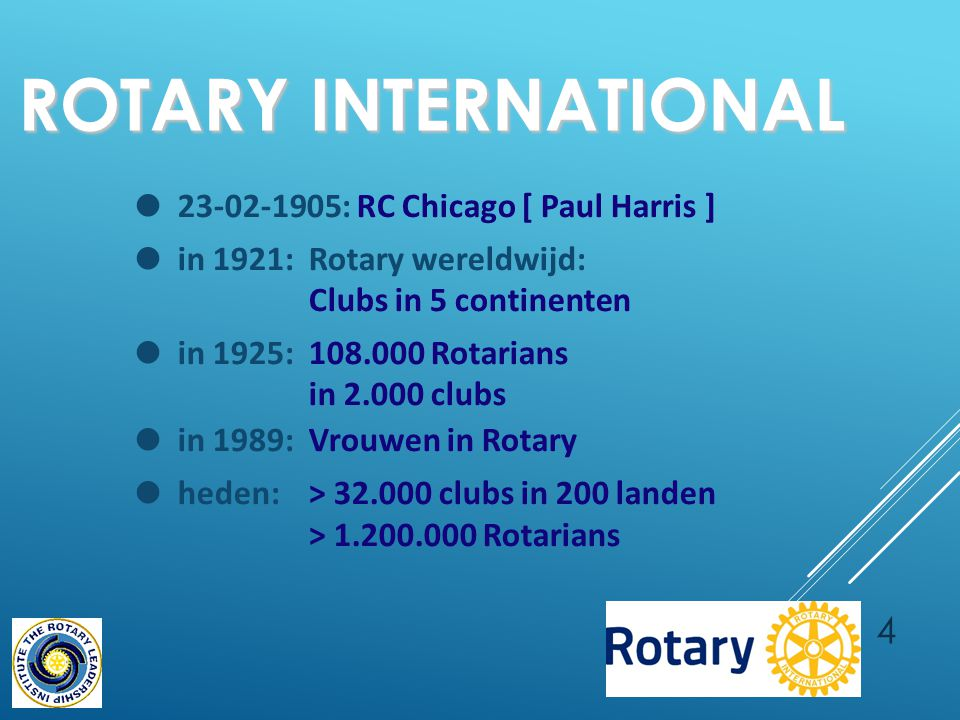 4 ROTARY INTERNATIONAL ● 23-02-1905: RC Chicago [ Paul Harris ] ● in 1921:Rotary wereldwijd: Clubs in 5 continenten ● in 1925:108.000 Rotarians in 2.0