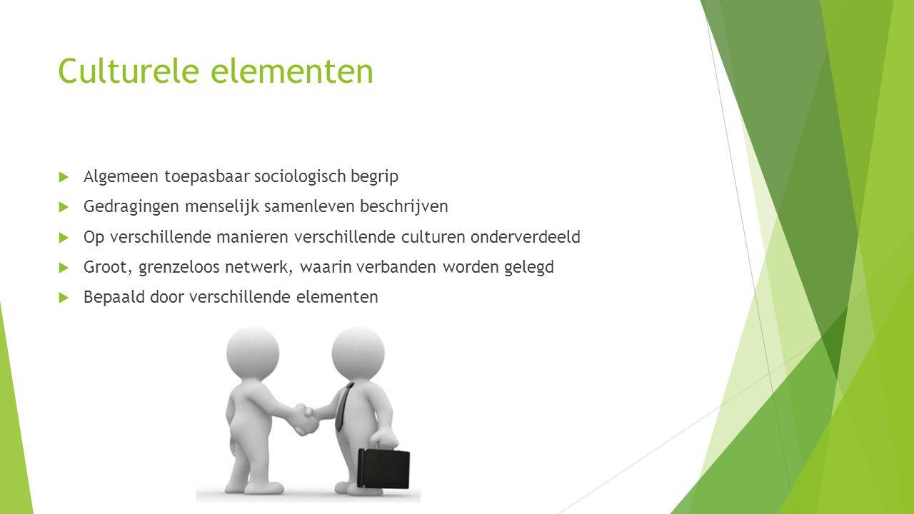 Culturele elementen  Algemeen toepasbaar sociologisch begrip  Gedragingen menselijk samenleven beschrijven  Op verschillende manieren verschillende culturen onderverdeeld  Groot, grenzeloos netwerk, waarin verbanden worden gelegd  Bepaald door verschillende elementen