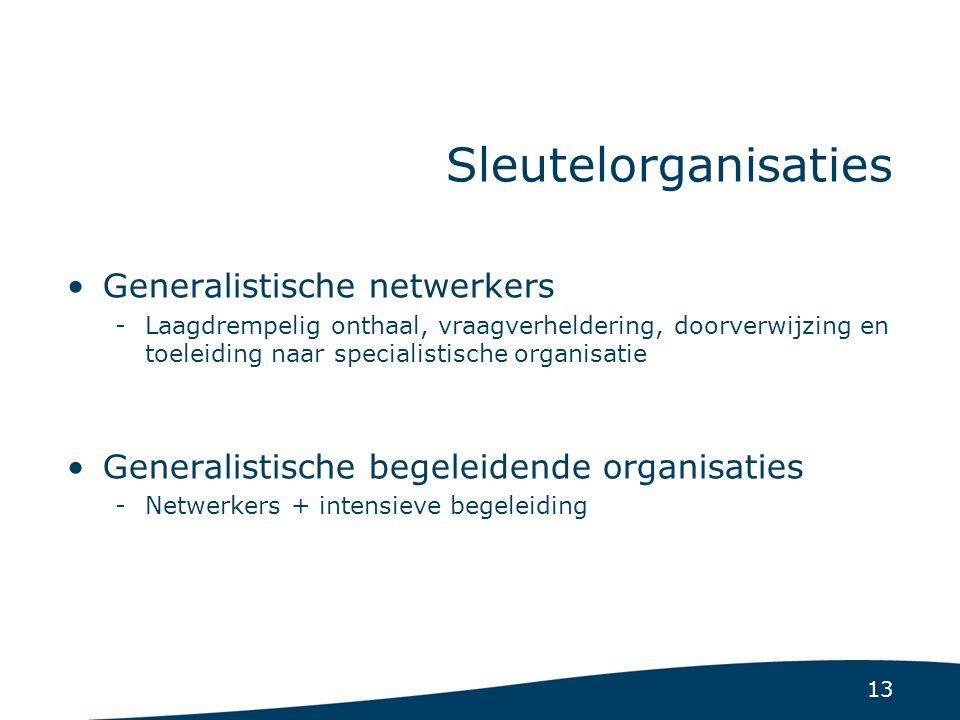 13 Sleutelorganisaties Generalistische netwerkers -Laagdrempelig onthaal, vraagverheldering, doorverwijzing en toeleiding naar specialistische organis