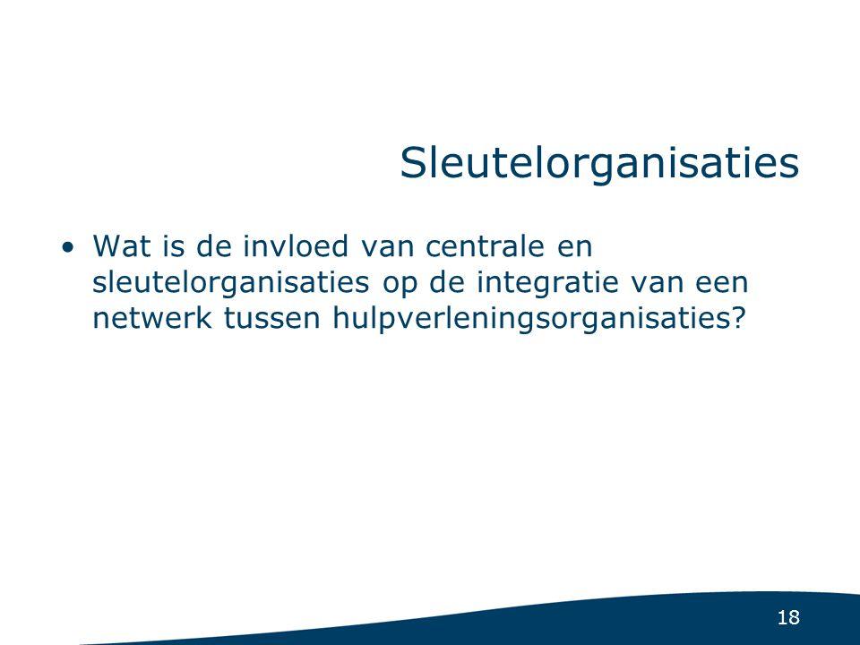 18 Sleutelorganisaties Wat is de invloed van centrale en sleutelorganisaties op de integratie van een netwerk tussen hulpverleningsorganisaties