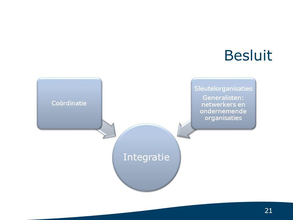 21 Besluit Integratie Coördinatie Sleutelorganisaties Generalisten: netwerkers en ondernemende organisaties
