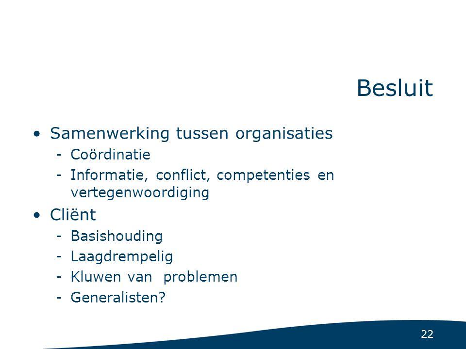 22 Besluit Samenwerking tussen organisaties -Coördinatie -Informatie, conflict, competenties en vertegenwoordiging Cliënt -Basishouding -Laagdrempelig -Kluwen van problemen -Generalisten