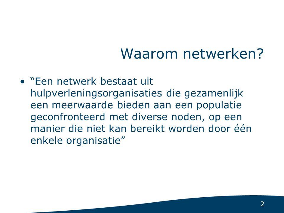 """2 Waarom netwerken? """"Een netwerk bestaat uit hulpverleningsorganisaties die gezamenlijk een meerwaarde bieden aan een populatie geconfronteerd met div"""