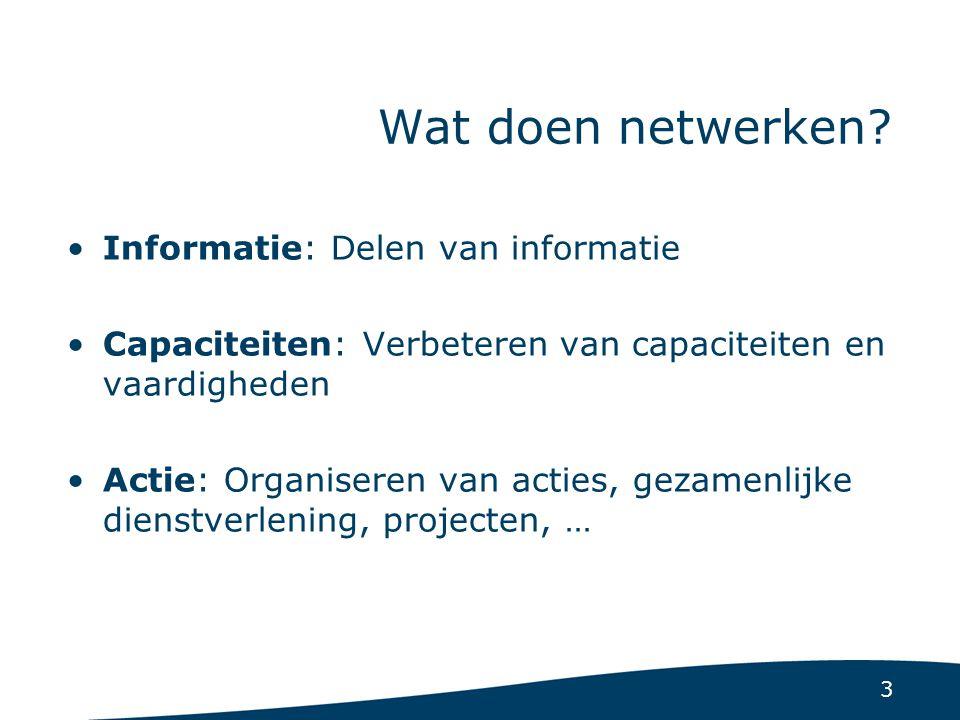 3 Wat doen netwerken? Informatie: Delen van informatie Capaciteiten: Verbeteren van capaciteiten en vaardigheden Actie: Organiseren van acties, gezame