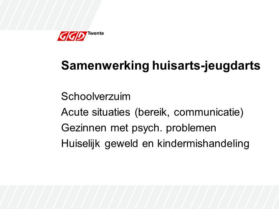 Samenwerking huisarts-jeugdarts Schoolverzuim Acute situaties (bereik, communicatie) Gezinnen met psych.