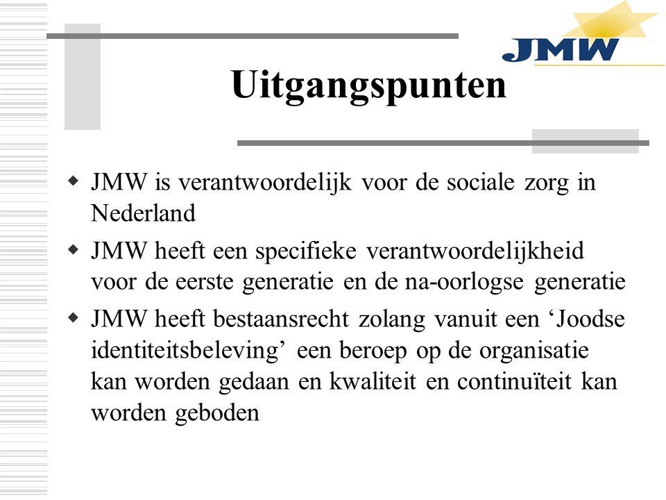 Uitgangspunten  JMW is verantwoordelijk voor de sociale zorg in Nederland  JMW heeft een specifieke verantwoordelijkheid voor de eerste generatie en de na-oorlogse generatie  JMW heeft bestaansrecht zolang vanuit een 'Joodse identiteitsbeleving' een beroep op de organisatie kan worden gedaan en kwaliteit en continuïteit kan worden geboden