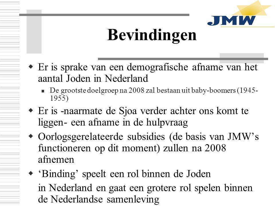 Bevindingen  Er is sprake van een demografische afname van het aantal Joden in Nederland De grootste doelgroep na 2008 zal bestaan uit baby-boomers (1945- 1955)  Er is -naarmate de Sjoa verder achter ons komt te liggen- een afname in de hulpvraag  Oorlogsgerelateerde subsidies (de basis van JMW's functioneren op dit moment) zullen na 2008 afnemen  'Binding' speelt een rol binnen de Joden in Nederland en gaat een grotere rol spelen binnen de Nederlandse samenleving