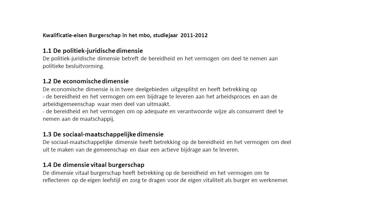 Kwalificatie-eisen Burgerschap in het mbo, studiejaar 2011-2012 1.1 De politiek-juridische dimensie De politiek-juridische dimensie betreft de bereidh