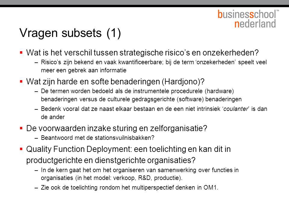 Vragen subsets (2)  Wat is de impact van het verdelen van TBV's.