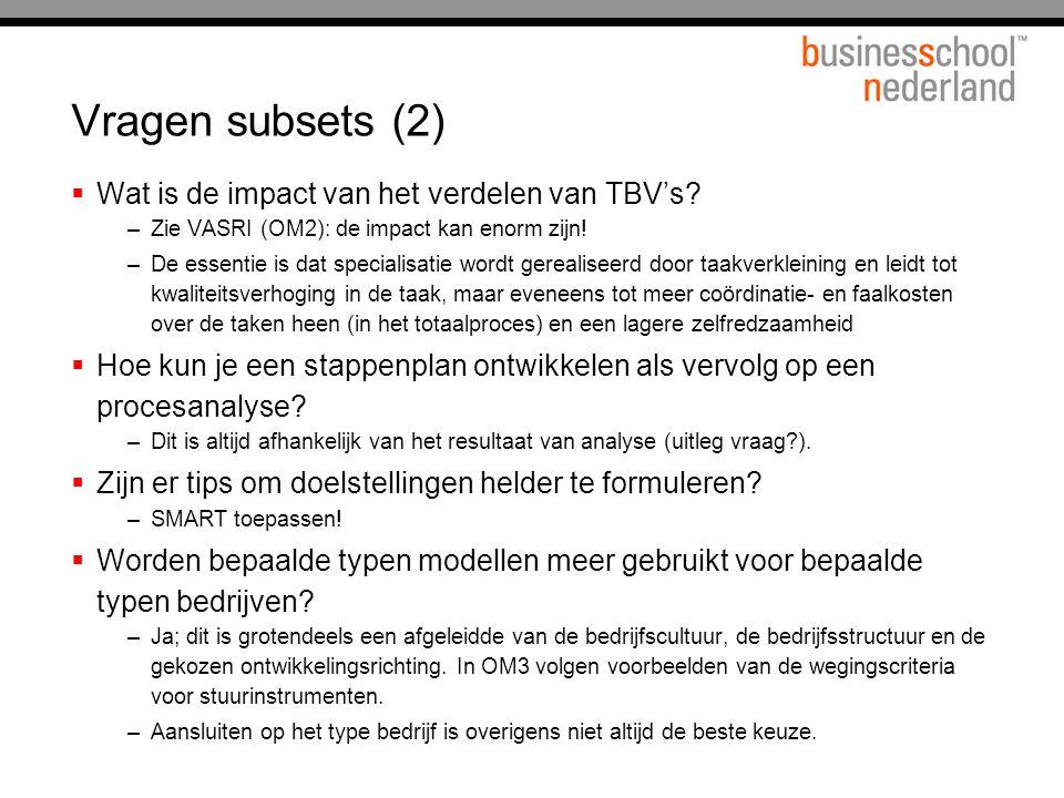 Vragen subsets (2)  Wat is de impact van het verdelen van TBV's? –Zie VASRI (OM2): de impact kan enorm zijn! –De essentie is dat specialisatie wordt