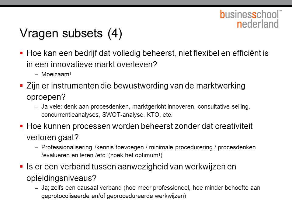 Vragen subsets (4)  Hoe kan een bedrijf dat volledig beheerst, niet flexibel en efficiënt is in een innovatieve markt overleven? –Moeizaam!  Zijn er