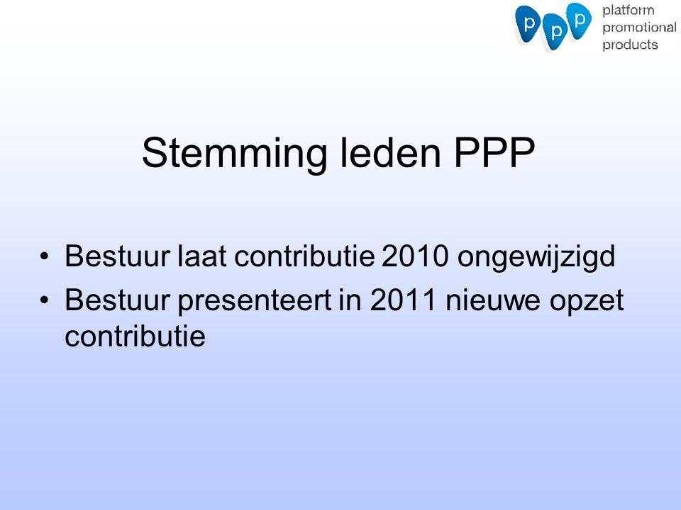 Stemming leden PPP Bestuur laat contributie 2010 ongewijzigd Bestuur presenteert in 2011 nieuwe opzet contributie
