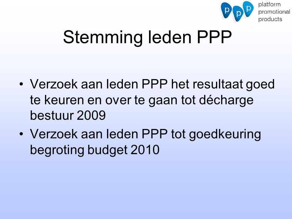 Stemming leden PPP Verzoek aan leden PPP het resultaat goed te keuren en over te gaan tot décharge bestuur 2009 Verzoek aan leden PPP tot goedkeuring begroting budget 2010