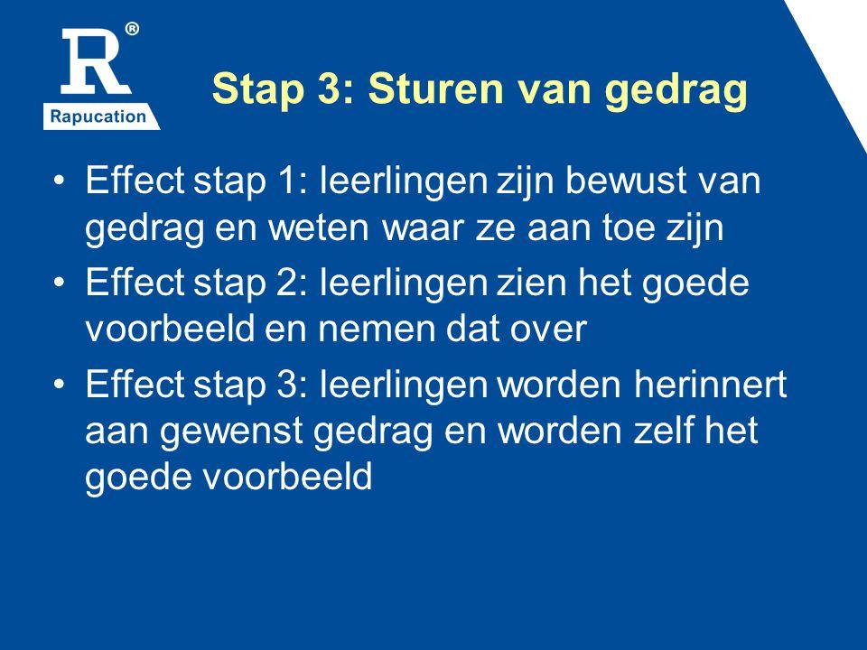 Stap 3: Sturen van gedrag Effect stap 1: leerlingen zijn bewust van gedrag en weten waar ze aan toe zijn Effect stap 2: leerlingen zien het goede voor