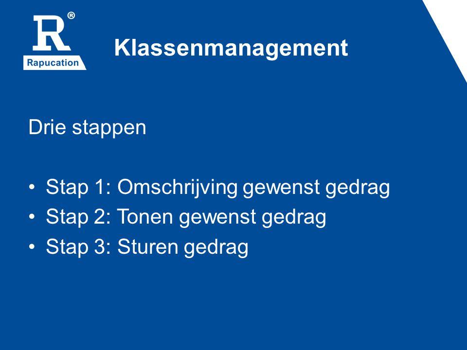 Klassenmanagement Drie stappen Stap 1: Omschrijving gewenst gedrag Stap 2: Tonen gewenst gedrag Stap 3: Sturen gedrag