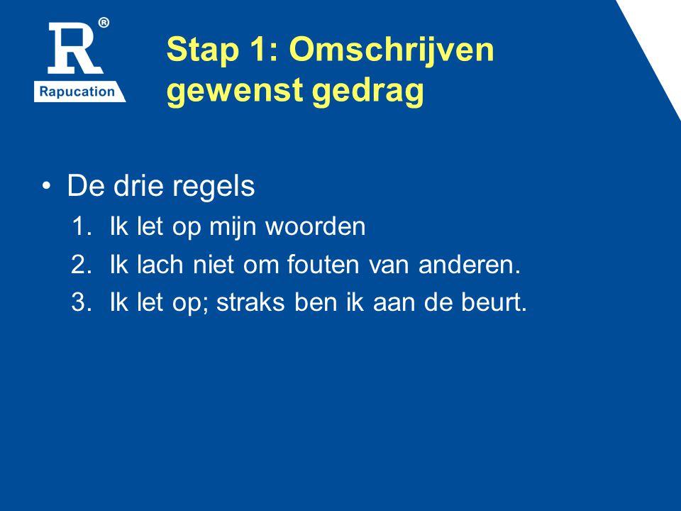 Stap 1: Omschrijven gewenst gedrag De drie regels 1.Ik let op mijn woorden 2.Ik lach niet om fouten van anderen. 3.Ik let op; straks ben ik aan de beu