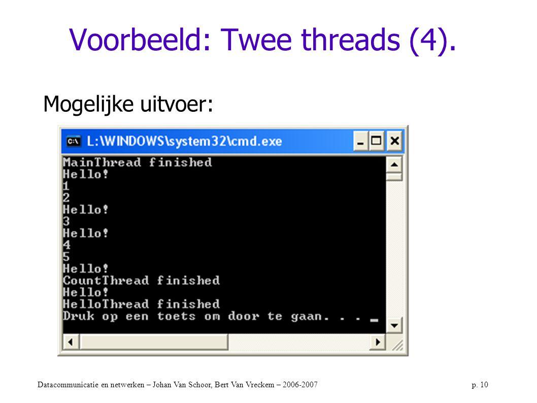 Datacommunicatie en netwerken – Johan Van Schoor, Bert Van Vreckem – 2006-2007p. 10 Voorbeeld: Twee threads (4). Mogelijke uitvoer: