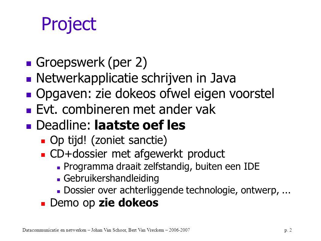 Datacommunicatie en netwerken – Johan Van Schoor, Bert Van Vreckem – 2006-2007p. 2 Project Groepswerk (per 2) Netwerkapplicatie schrijven in Java Opga
