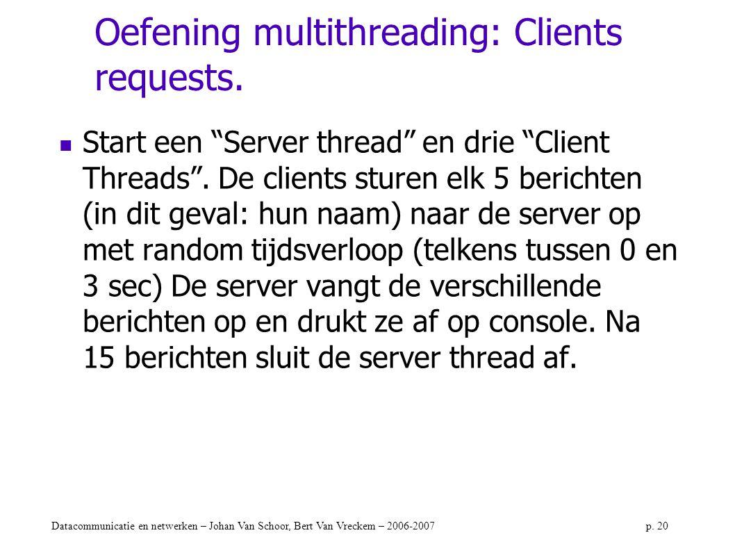 """Datacommunicatie en netwerken – Johan Van Schoor, Bert Van Vreckem – 2006-2007p. 20 Oefening multithreading: Clients requests. Start een """"Server threa"""