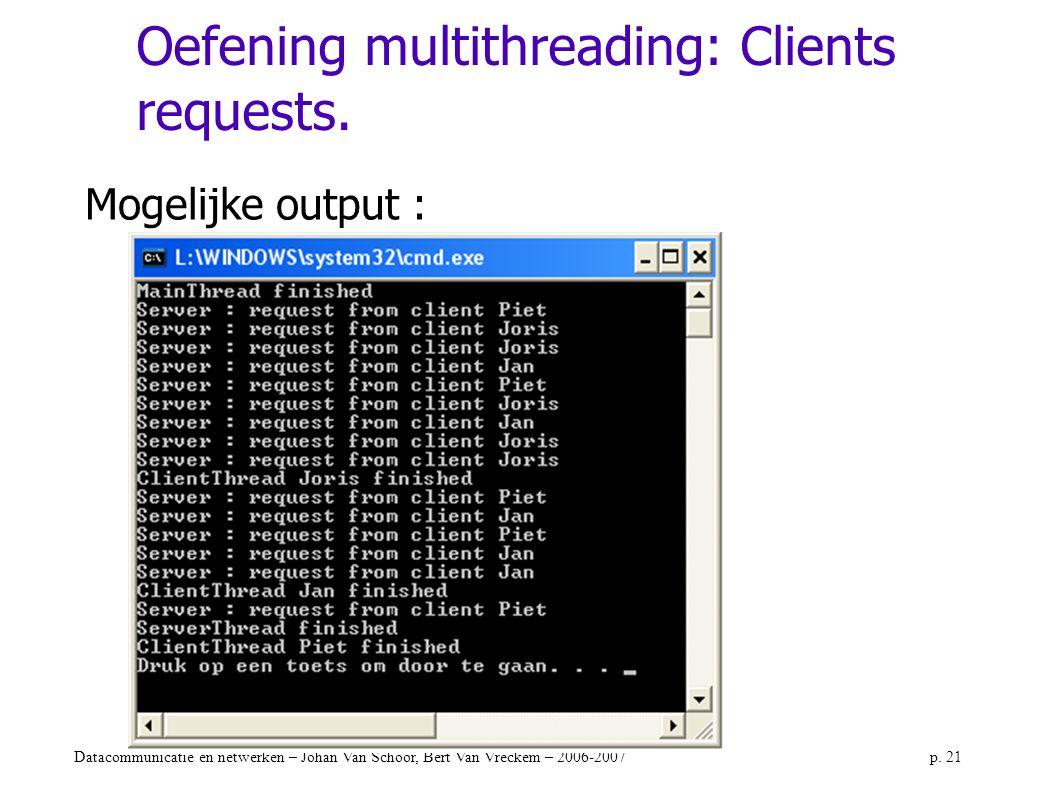 Datacommunicatie en netwerken – Johan Van Schoor, Bert Van Vreckem – 2006-2007p. 21 Oefening multithreading: Clients requests. Mogelijke output :