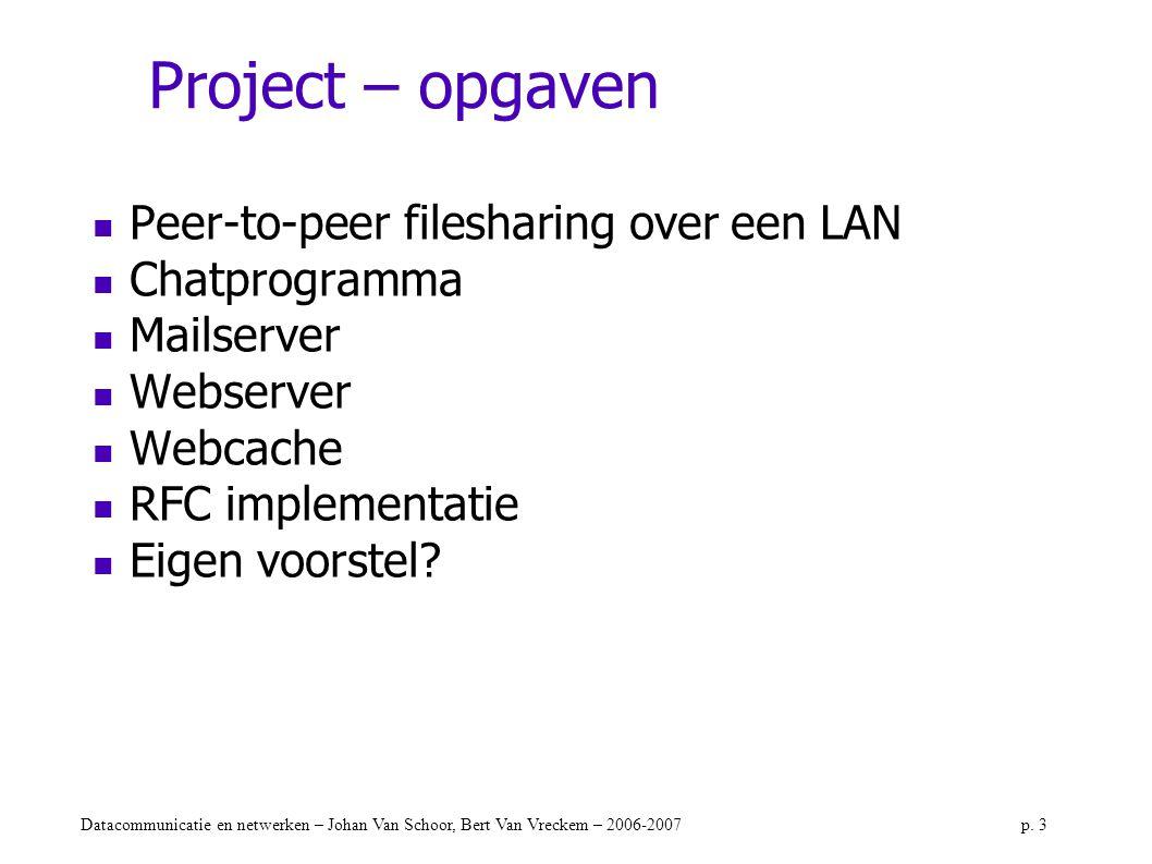 Datacommunicatie en netwerken – Johan Van Schoor, Bert Van Vreckem – 2006-2007p. 3 Project – opgaven Peer-to-peer filesharing over een LAN Chatprogram