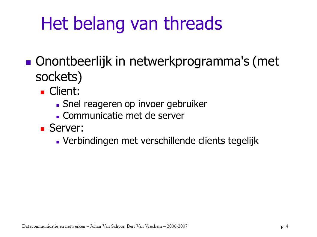 Datacommunicatie en netwerken – Johan Van Schoor, Bert Van Vreckem – 2006-2007p. 4 Het belang van threads Onontbeerlijk in netwerkprogramma's (met soc
