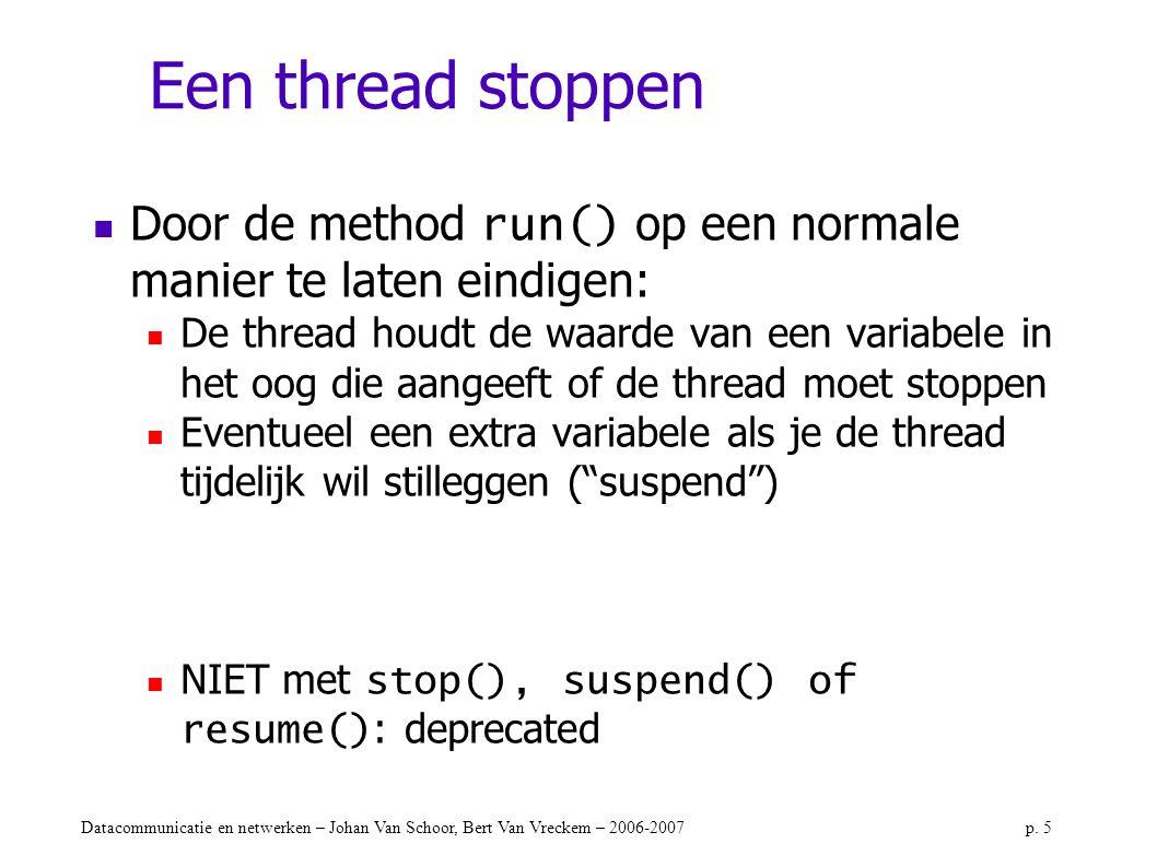 Datacommunicatie en netwerken – Johan Van Schoor, Bert Van Vreckem – 2006-2007p. 5 Een thread stoppen Door de method run() op een normale manier te la