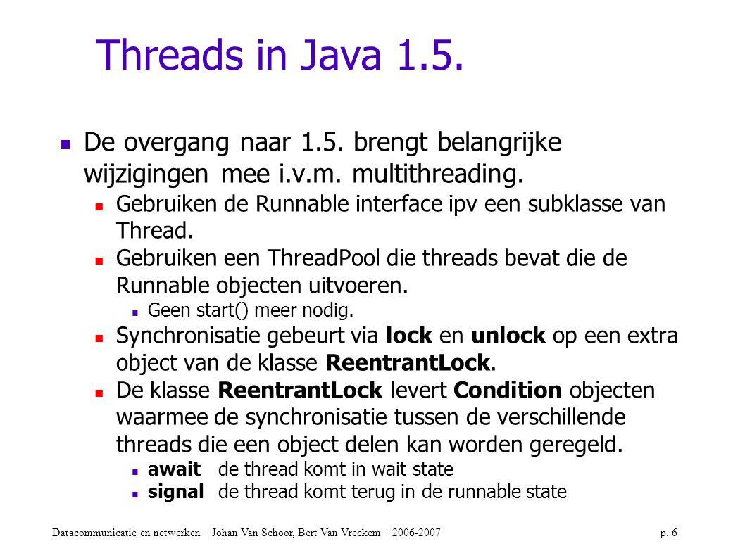 Datacommunicatie en netwerken – Johan Van Schoor, Bert Van Vreckem – 2006-2007p. 6 Threads in Java 1.5. De overgang naar 1.5. brengt belangrijke wijzi